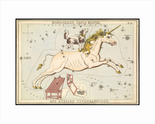Monoceros, Canis Minor and Atelier Typographique, Urania's Mirror or a View of the Heavens by Sidney Hall