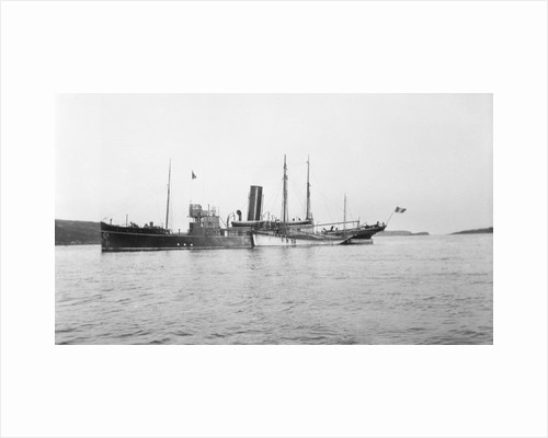 Fishery cruiser 'Muirchu' (Ih, 1908), ex 'Helga', with fishing vessels alongside by unknown