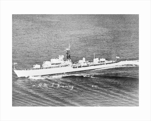 Destroyer HMS 'Daring' (1949) under way with crew in review order manning the ship by unknown