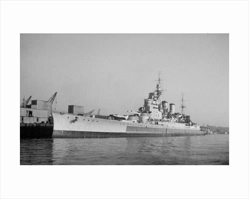 Battlecruiser HMS 'Renown' (1916) in 1945 alongside at Devonport, de-storing by unknown