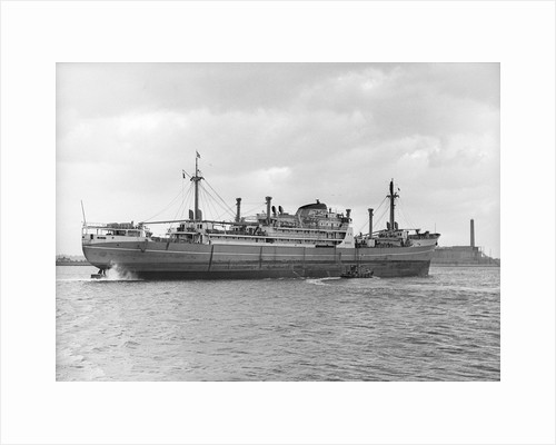 Photograph of cargo liner 'St. Essylt' (1948) in May 1955, under way on the River Thames at Tilbury, bound out in ballast by unknown