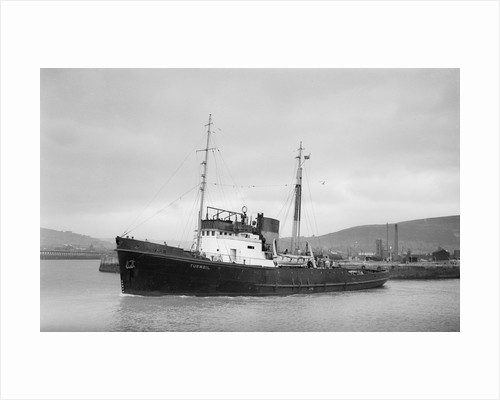 Salvage tug 'Turmoil' (Br, 1944, The Admiralty, Overseas Towage & Salvage Co Ltd) under way at Swansea, bound out by unknown