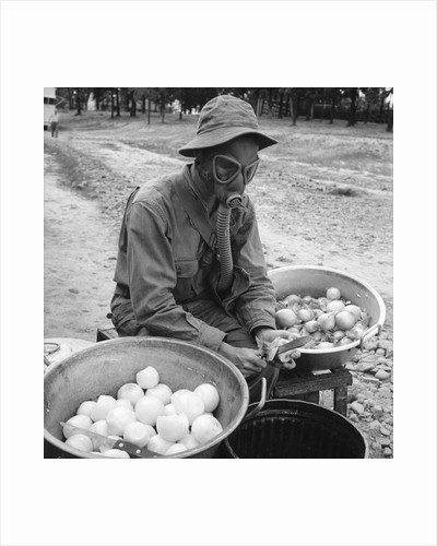 American soldier peeling onions while wearing a gas mask by Alan Villiers