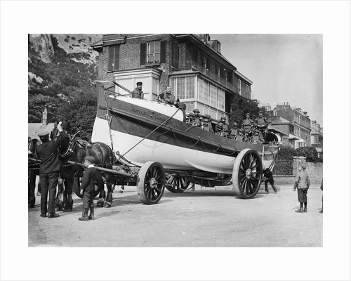 'Mary Hamer Hoyle' (Br, 1901) on its horse drawn carriage in a Dover street during Lifeboat Day by unknown