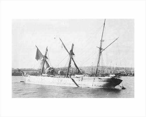 'Sussex' (Br, 1866), moored at Falmouth, dismasted, fore and main topmasts lost by unknown