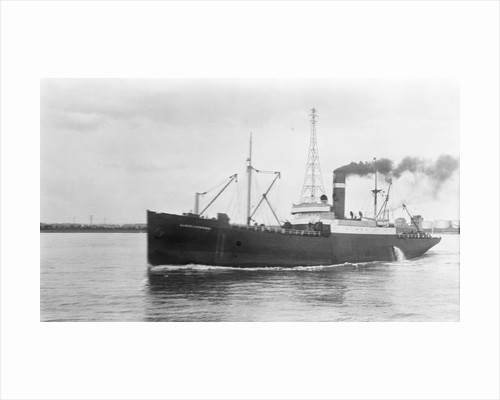 General cargo short sea vessel 'Lindisfarne' (Br, 1925) Tyne-Tees Steam Shipping Co Ltd, under way in the Thames by unknown
