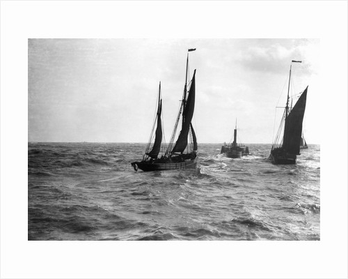 The dandy-rigged trawler 'Speranza' (1891) [LT431] under sail, with an unidentified trawler being towed by the paddle tug 'Imperial' (1879) at Lowestoft, Suffolk by Smiths Suitall Ltd.