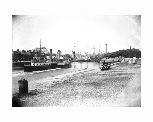 A view of The New Cut from the Promenade at Ipswich with the paddle steamer 'Suffolk' (1895) in bound approaching to her berth by Smiths Suitall Ltd.