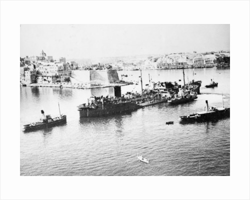 Tanker 'Ohio' (Br, 1940) under tow in Grand Harbour, Malta, with heavy damage received during Operation Pedestal by unknown