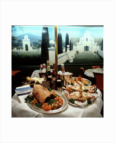 Dinner table spread aboard Union-Castle liner 'Transvaal Castle' by Marine Photo Service