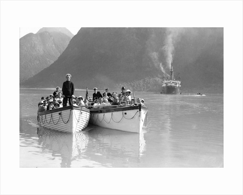 Tenders from the 'Montclare' in a Norwegian fjord by Marine Photo Service