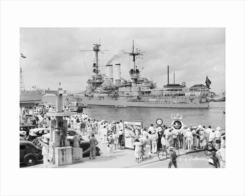 German Battleship 'Schlesien' at Curacao, Lesser Antilles by Marine Photo Service