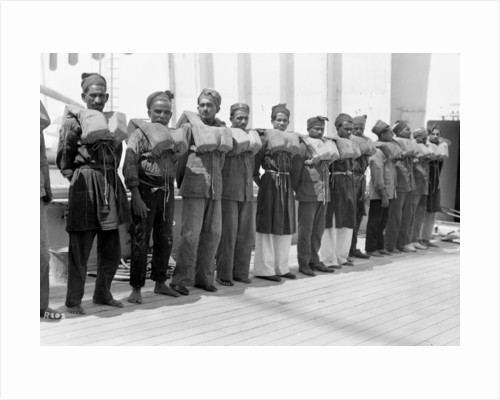 Crew wearing life jackets aboard the P&O passenger/cargo liner 'Viceroy of India' (Br, 1929) by unknown