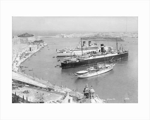 'Arandora Star' and the Donaldson Liner 'Letitia' in Grand Harbour, Valletta, Malta by Marine Photo Service