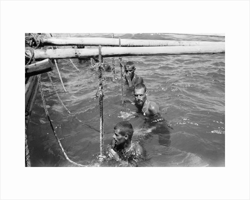Pearl divers in the water by Alan Villiers