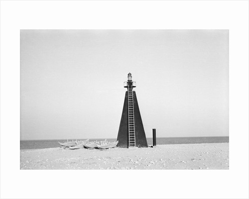 Lighthouse at entrance to Kuwait Bay by Alan Villiers