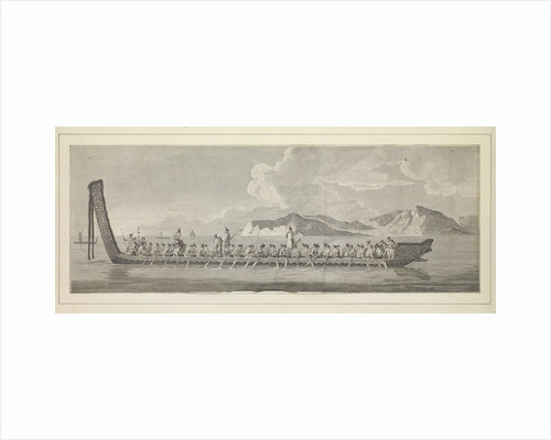 Plates of Captain Cook Voyages, Volume I. A war canoe of New Zealand, with a view of Gable End foreland by Sydney Parkinson