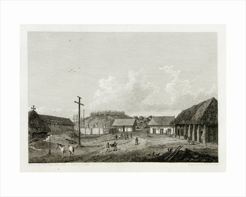 View of a town with cow being slaughtered in background by William Alexander