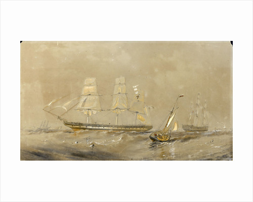 'Agamemnon' at sea, a cutter in the foreground by Oswald Walter Brierly