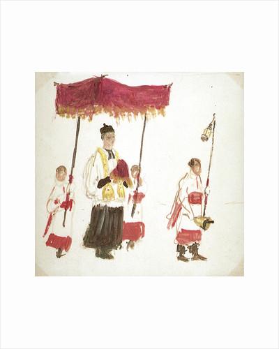 A Priest Beneath a Canopy, with Three Servers by William Lionel Wyllie
