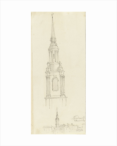 Shadwell church, and an enlargement of the spire, 5 December 1826 by Edward William Cooke