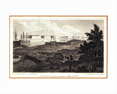 The West India Docks, Blackwall. For Dr Hughson's Description of London by Robert Bremmel Schnebbelie