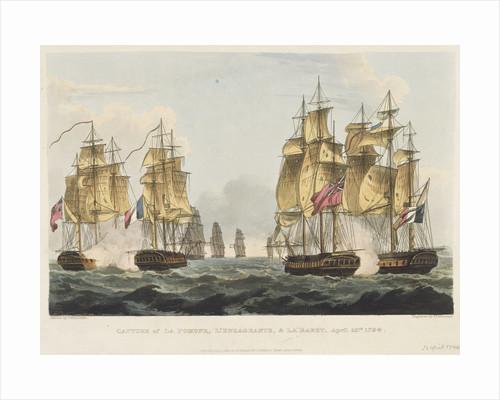 Capture of 'La Pomone', 'L' Engageante' & 'La Babet', 23 April 1794 by Thomas Whitcombe