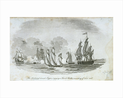 The 'Aristocrat' armed lugger engaging a French flotilla by John Thomas Serres