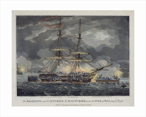 The boarding and capturing of 'L' Avanturier' near the Isle of Bas, 3 August 1798 by William Elmes