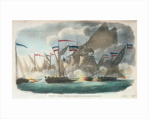 'Speedy' sloop of war attacked by Spanish gun-boats by Wells