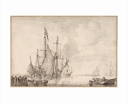A Dutch flagship becalmed with vessels alongside by Willem Van de Velde the Younger