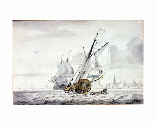 A Dutch Yacht beating out of a harbour off Kampsen by Wigerus Vitringa