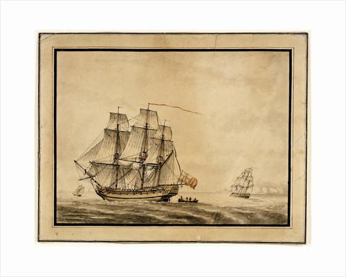 A frigate close-hauled by unknown