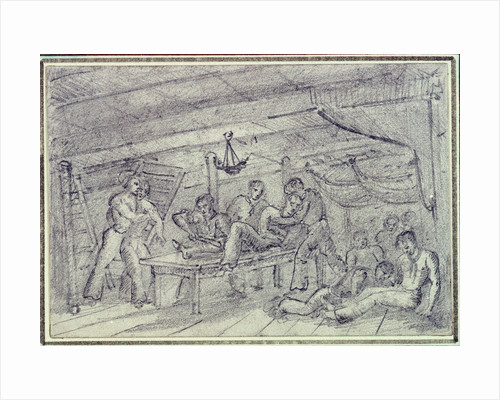 Scene below decks showing man having leg amputated by unknown