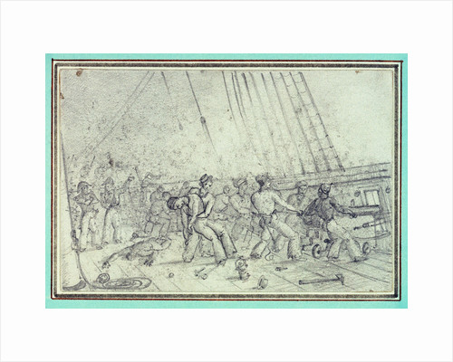 Shipboard scene of men firing canons by unknown