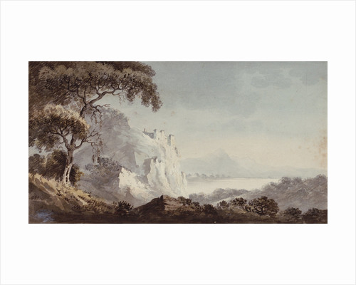 Rocky coast with castle by George Bulteel Fisher
