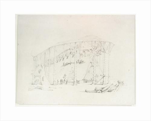 HMS 'Russell' on stocks at Deptford Yard, c. 1822 by Henry Edridge
