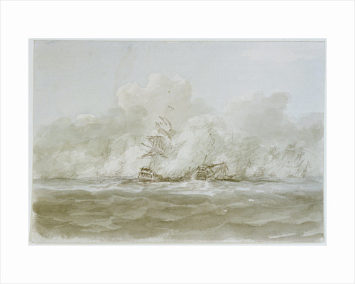 The Battle of the Glorious First of June, 1794; the 'Defence' (?) and 'Le Vengeur' by Nicholas Pocock