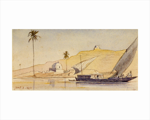 A large lateen-rigged vessel passing along the Nile by Edward Lear
