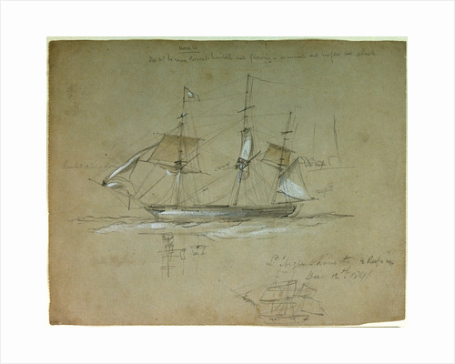 'L' Aigle' hove to and reefs in, 12 December 1841 by Oswald Walter Brierly