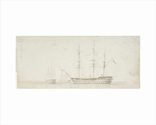 The 'Royal William' at anchor by Oswald Walter Brierly