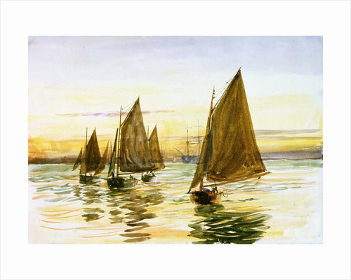 Small gaff-rigged cutters at sunset by William Lionel Wyllie