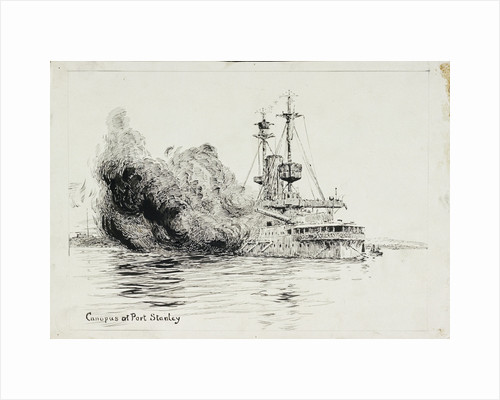 HMS 'Canopus' at Port Stanley, firing the opening salvoes of the Battle of the Falkland Islands, 8 December 1914 by William Lionel Wyllie
