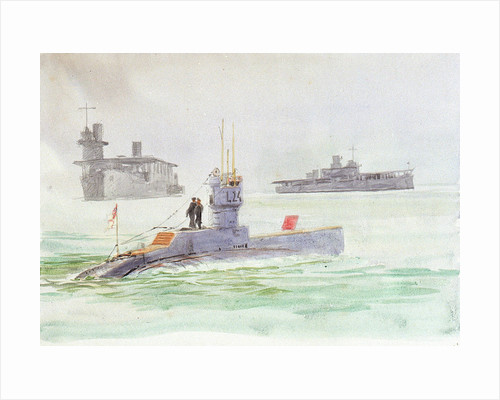 Aircraft carriers and the submarine L24 by William Lionel Wyllie