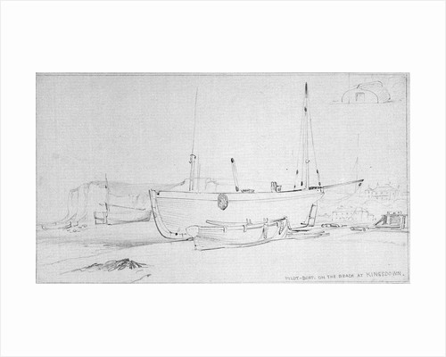 Pilot boat and other vessels beached at Kingsdown, near Deal by Edward William Cooke