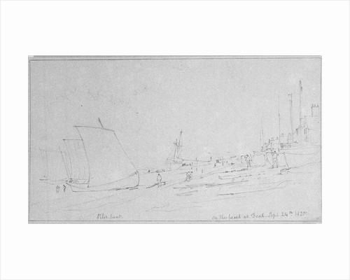 Beach scene at Deal. A pilot boat on shore drying sails by Edward William Cooke