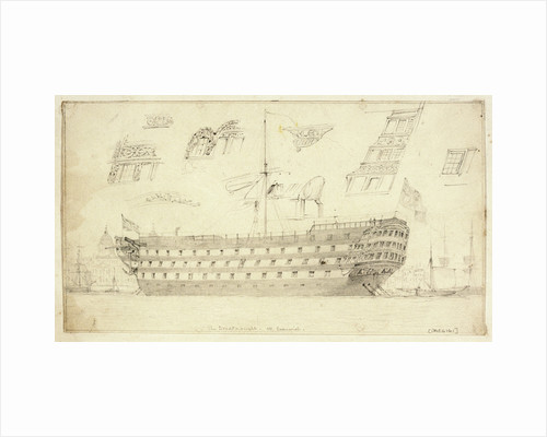The 'Dreadnought' off Greenwich by Edward William Cooke