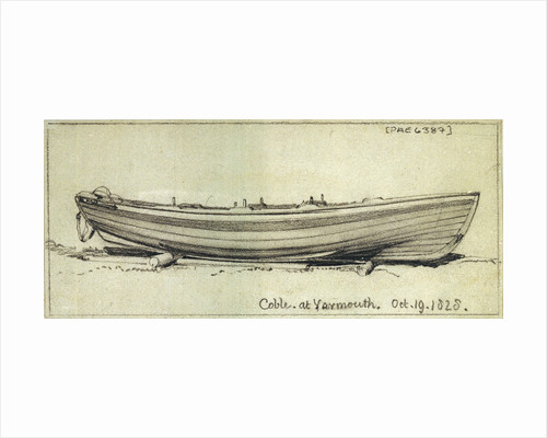 A coble hauled up on rollers on Yarmouth beach. Starboard side by Edward William Cooke