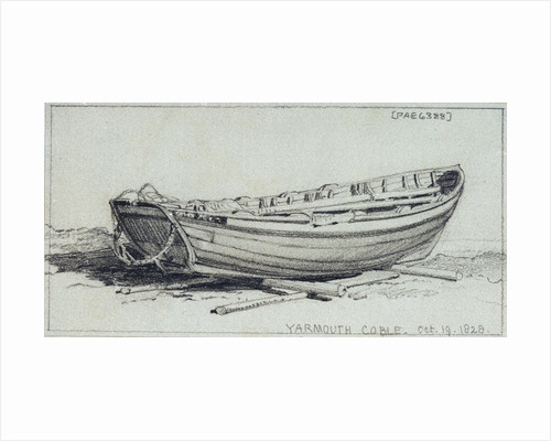 A coble hauled up on rollers on Yarmouth beach. Starbord quarter by Edward William Cooke
