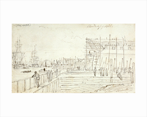 The 'Duchess of Atholl' being built at Blackwall with figures looking around the yard and shipping on the Thames by Henry Moses